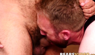 Bear eats his lovers ass out and then drills it deep