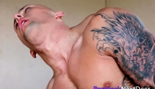 Bald muscular dude sucks big cock than rides it passionately
